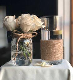 Mason Jar Centerpiece, Elegant Vase, Twirled & Twi