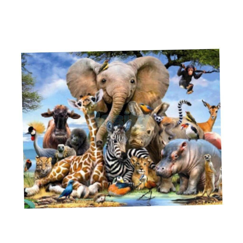 Drill Elephant Zoo 5D Diamond DIY Painting Craft Kit Home Wall Hanging