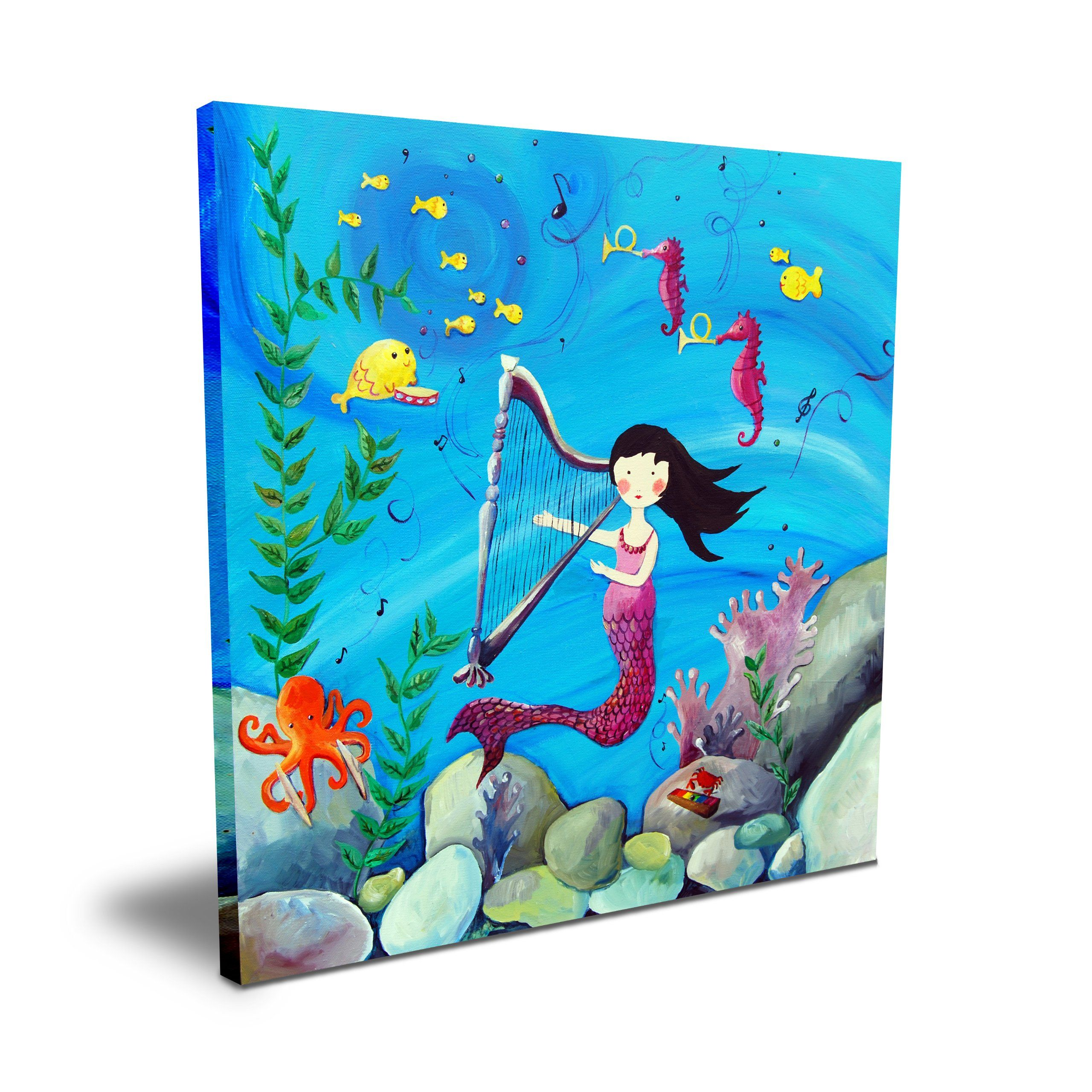 """Cici Art Factory 16""""x 16"""" Brunette Mermaid. Gallery-wrapped canvas. Sawtooth Hanger, Matte Finish, UV Protected."""