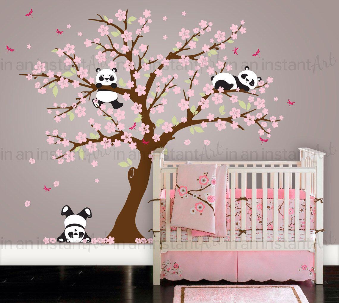 cherry blossom panda wall decal botanical panda wall sticker set