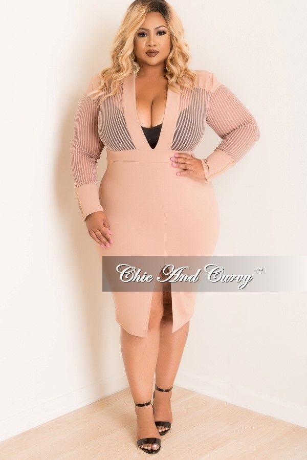 3fc21ba840ca Plus Size Mesh Stripe Deep V-Neck BodyCon Dress with Gold Back Zipper in  Peachy Nude