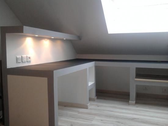 bureau placo Pladur Pinterest Drywall, Bureaus and Salons - fabriquer meuble en placo