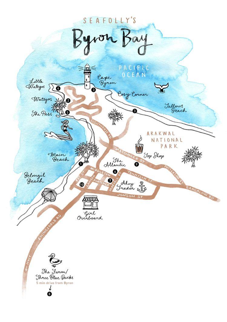 Australia Map Byron Bay.Seafolly Map Illustration Of Byron Bay By Neryl Walker Australian