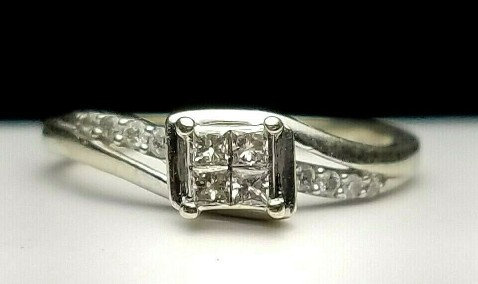 Estate 10k White Gold Invisible Set Diamond Ring Sz 6 25tw 417 Iks Free Us Ship Iks Cocktail White Gold Diamond Ring Rings