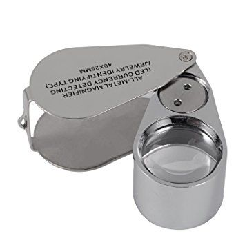 Silver Tone 30x21mm Folding Jewelry Loupe Magnifying Glass Magnifier