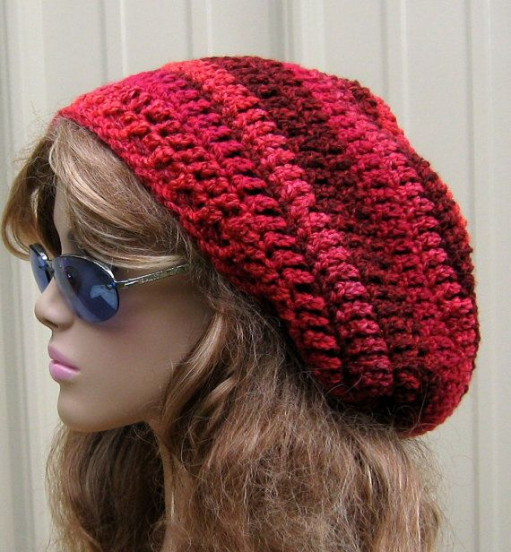 Mixed Berries slouchy beanie. slouchy hat, red Tam hat, Dread Hippie ...