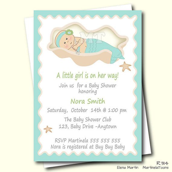 DIY Mermaid Baby Shower Invitation, Aqua Blue Under The Sea Babyshower  Invite, Printable