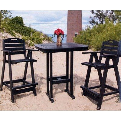 Nautical 3 Piece Bar Height Dining Set Finish: Hunter Green by Polywood. $1036.97. PO1114 Finish: Hunter Green Features: -Made to withstand a range of climates including hot sun, cold winters, and salty coastal air.-Comes standard with an umbrella hole for a 1.5'' pole.-Stainless steel hardware.-Made in the USA. Color/Finish: -Fade resistant colors permeate each board. Assembly Instructions: -Shipped knocked down, with easy assembly required. Dimensions: -Bar sto...