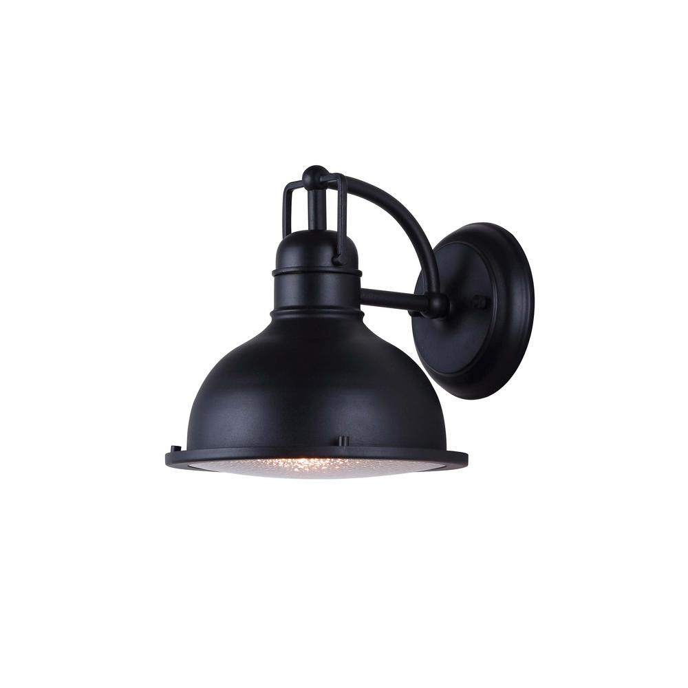 Canarm Logan Black Outdoor Led Wall Lantern Sconce With Ice Glass Lol279bk Hd The Home Depot Black Wall Lights Wall Lights Outdoor Wall Light Fixtures