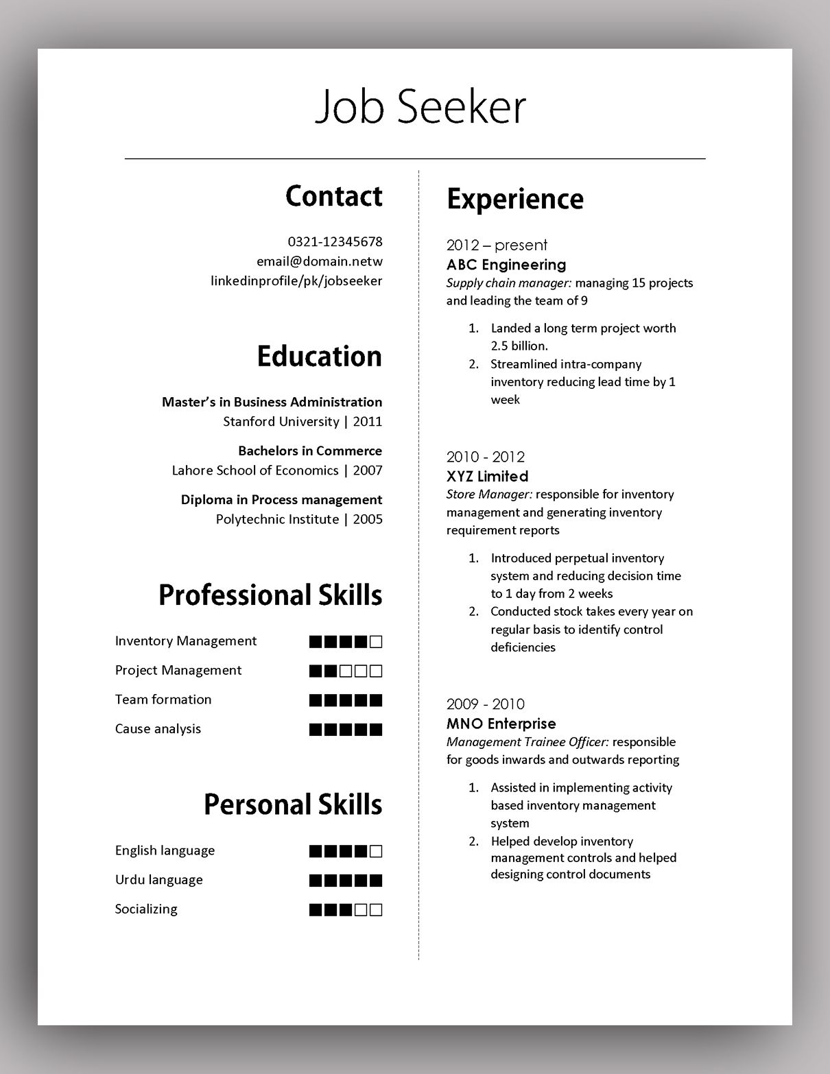 simple yet elegant cv template to get the job done free download