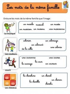 Les Mots De La Meme Famille Learning French For Kids Learn French French Vocabulary