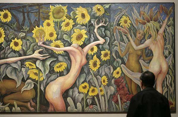 """Obra de Diego Rivera. """"Vino, mujeres y flores"""" exhibida en el Palacio de Bellas Artes  de México"""