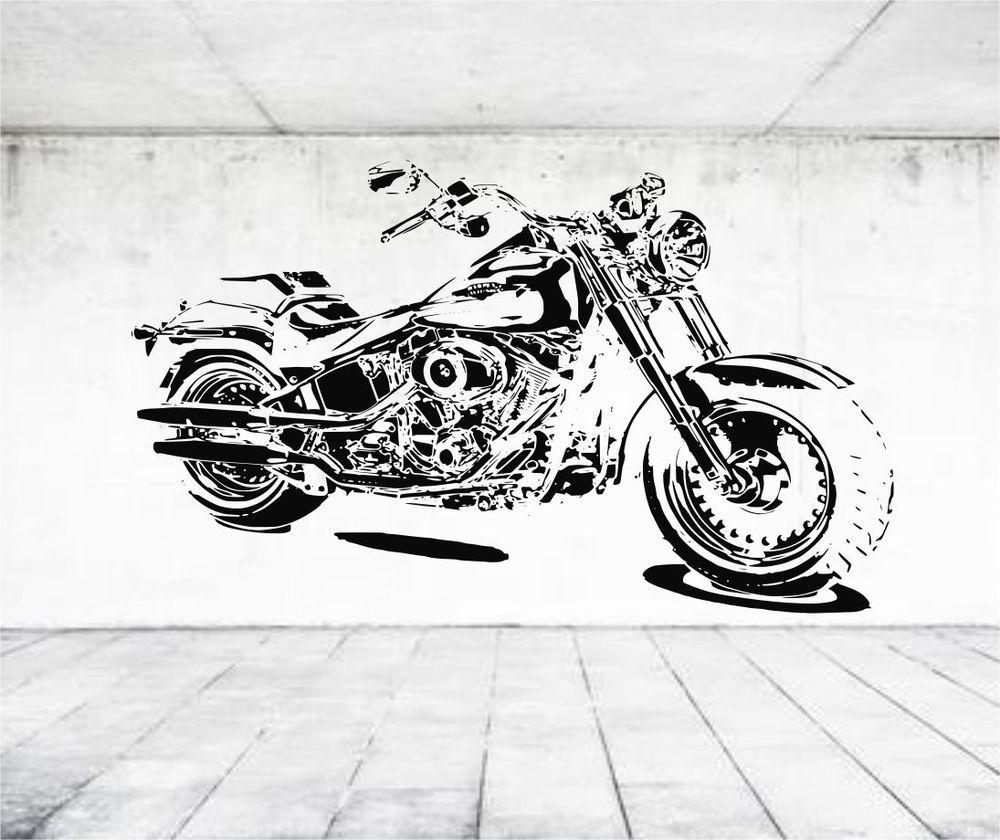 Harley Davidson Fat Boy Terminator Motor Bike Vinyl Sticker Wall - Stickers for motorcycles harley davidsonsmotorcycle decals and stickers
