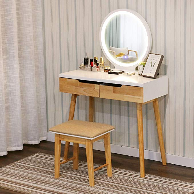 Amazon Com Yourliteamz Vanity Table Set With Touch Screen Adjustable Lighted Mirror With Cushioned Stool 3 In 2020 Vanity Table Set Vanity Table Dressing Table Mirror
