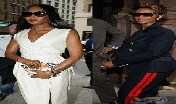 العارضة نعومي كامبل تتألق بفستان كريمي بفتحة ساق عالية Pantsuit Fashion Suits