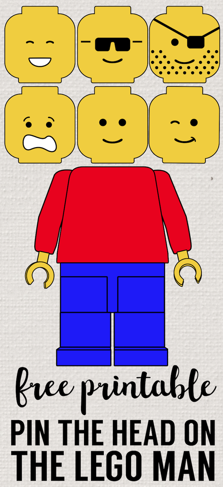 Pin the Head on the Lego Man Party Game Free Printable - Paper Trail Design