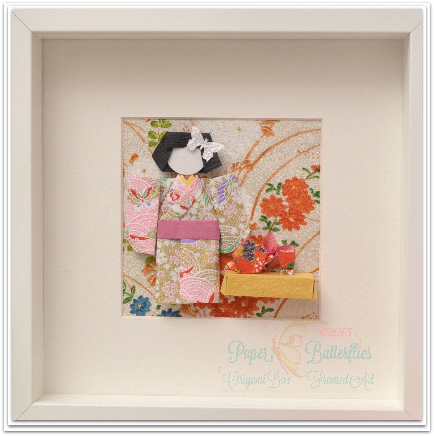 Japanese Doll Tea Ceremony Framed Wall Art Handmade Origami Etsy Paper Butterflies Origami Art Box Frame Art