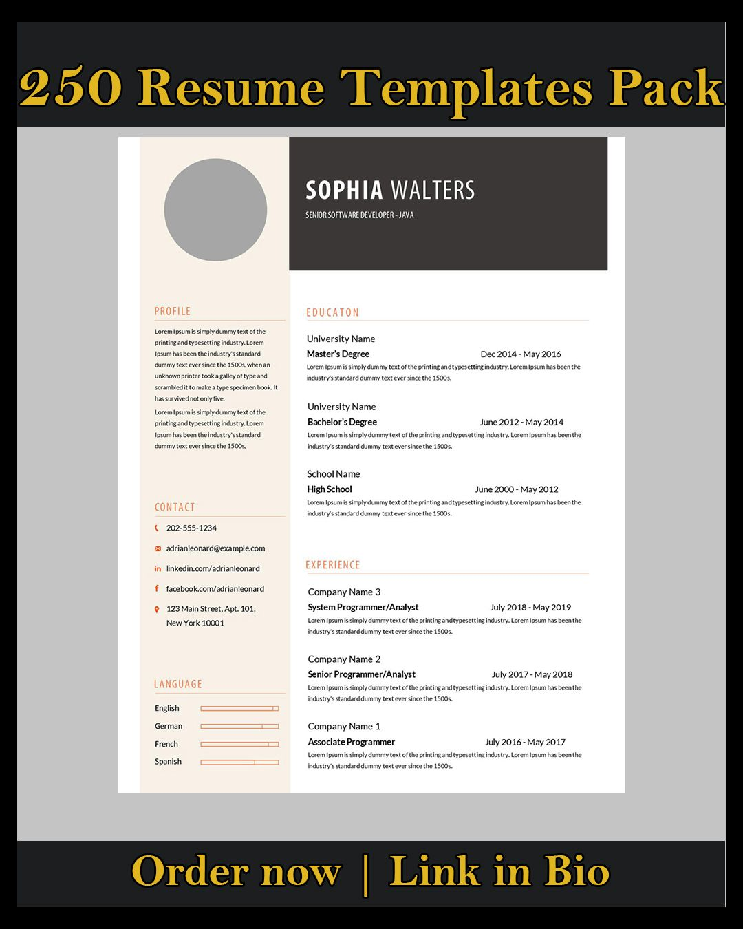 Provide 250 ms word resume template and cover letter