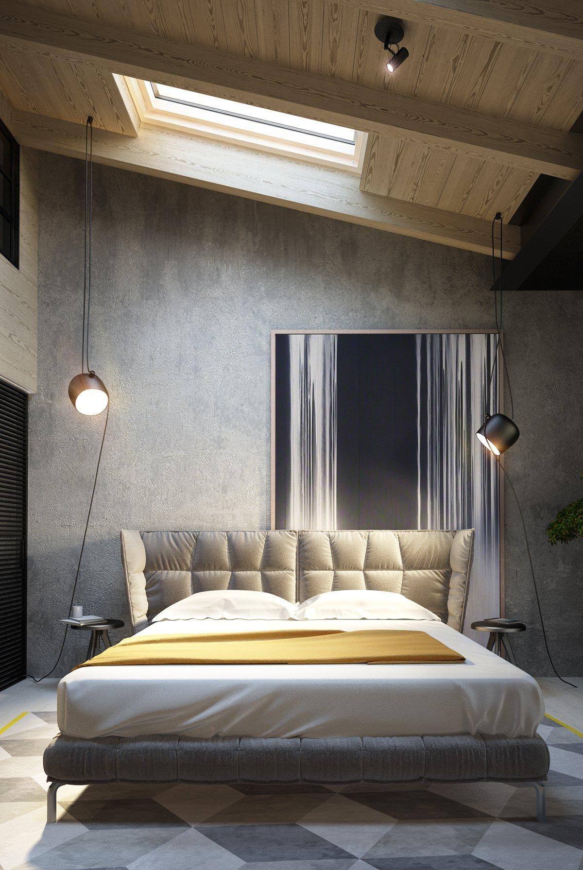 Exposed Concrete Walls Ideas Inspiration Concrete Bedroom Industrial Style Bedroom Bedroom Design