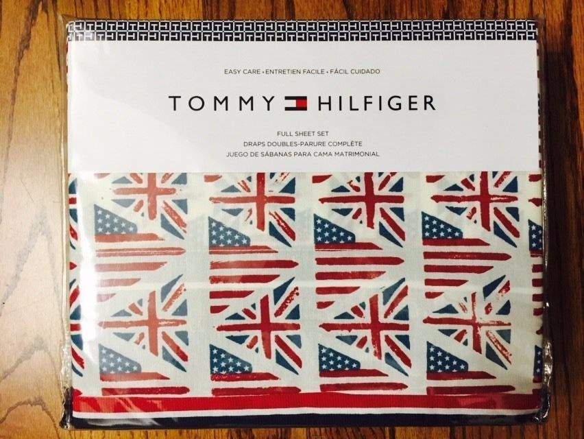 TOMMY HILFIGER UK British American Flags 4pc Full Sheet Set  #TommyHilfiger #Patriotic