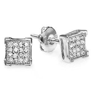 0 10 Carat Ctw Platinum Plated Sterling Silver Real Diamond V G Square Mens Hip