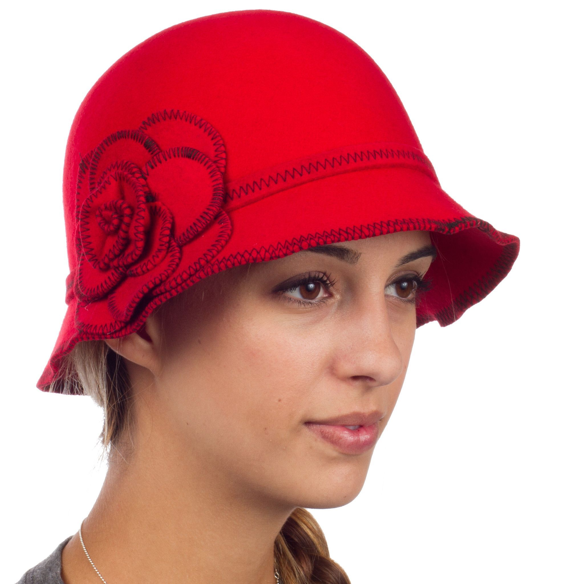 c602d69ac Sakkas Madeline Vintage Style Wool Cloche Hat | Red Hat Society ...