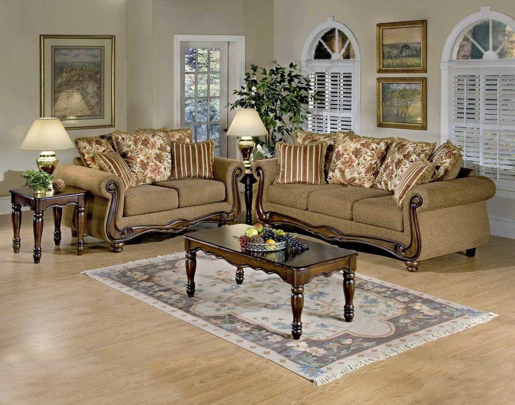 Macy Chestnut Wood Apron sofa and loveseat by Serta Upholstery ...