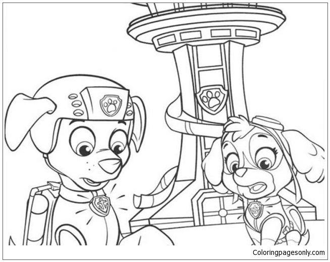 Paw Patrol Zuma And Sky Coloring Page: http://coloringpagesonly.com ...