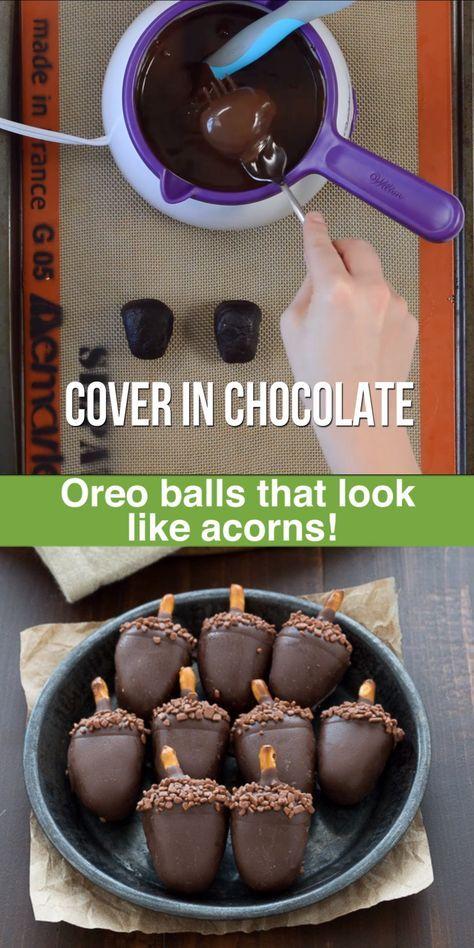 Oreo Acorn Balls - fall oreo balls that look like