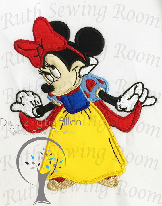 Personalized Snow white Minnie Mouse White Shirt machine embroidered