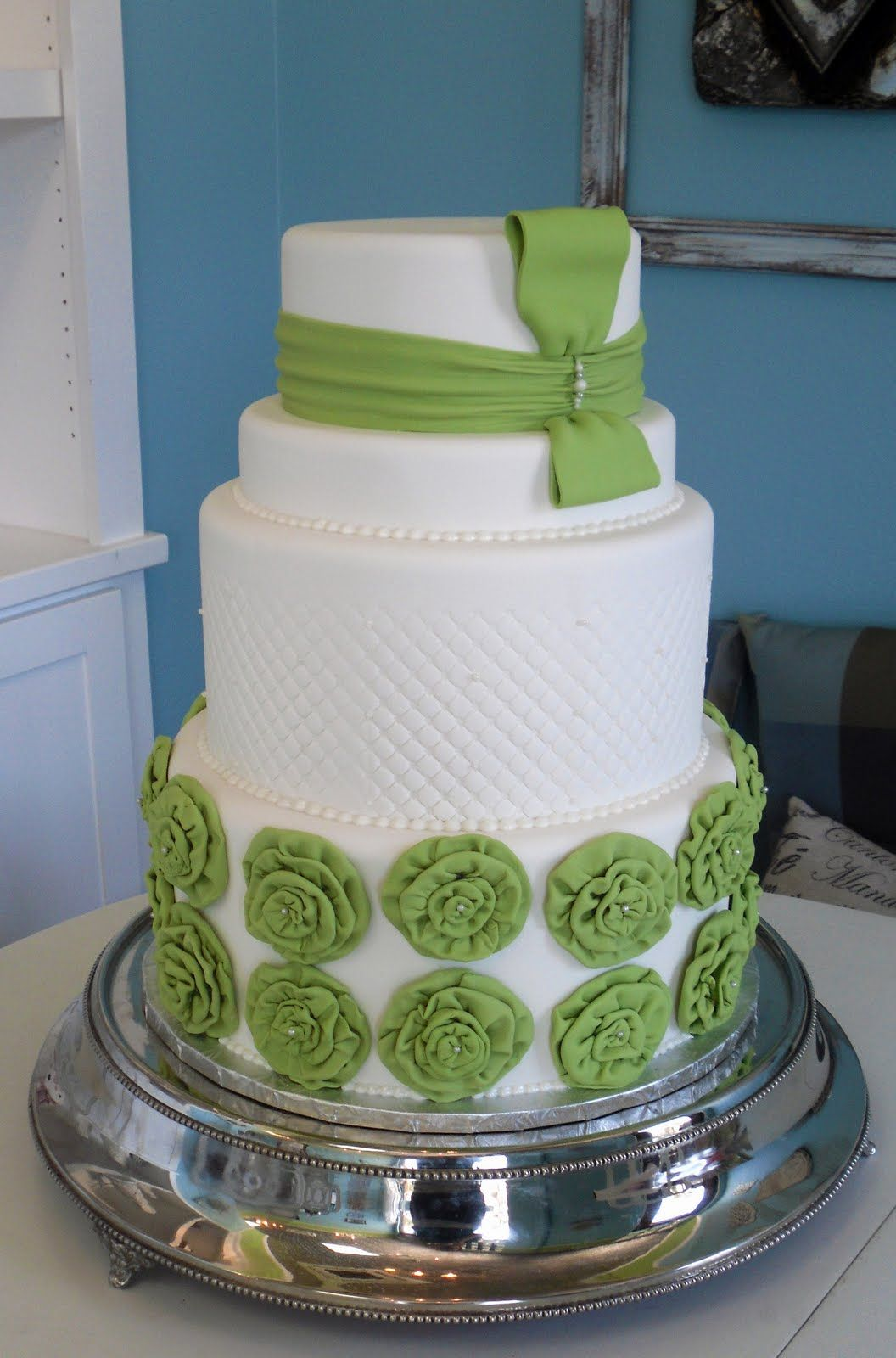Green and gold wedding cake on Pinterest