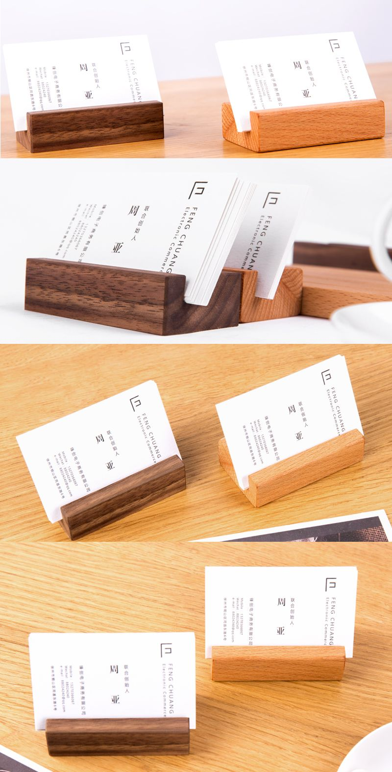 Bamboo Wooden Place Card Holder Photo Card Holder Business Card ...