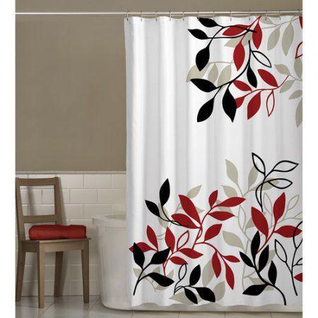 Maytex Satori Fabric Shower Curtain Size 70 Inch X 72 Inch Fabric Shower Curtains Bathroom Red Curtains