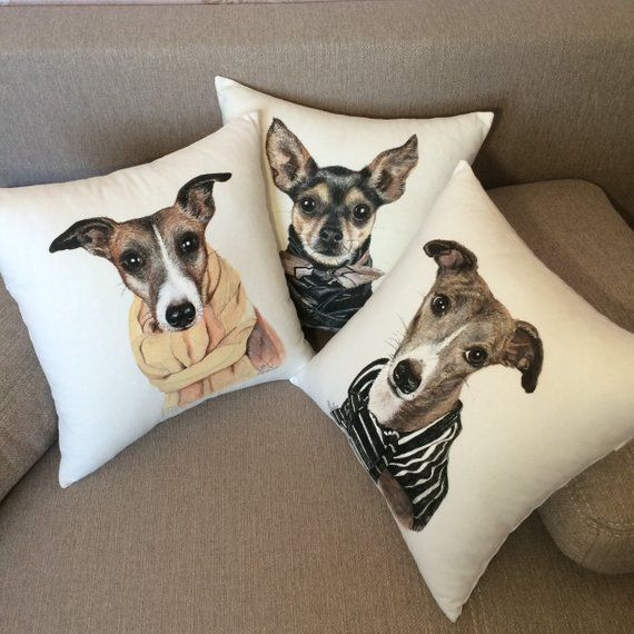 2d5e4bdf4771 Custom dog pillow with personalized pet portrait Pet loss gift Pet painting  from photo Personalized
