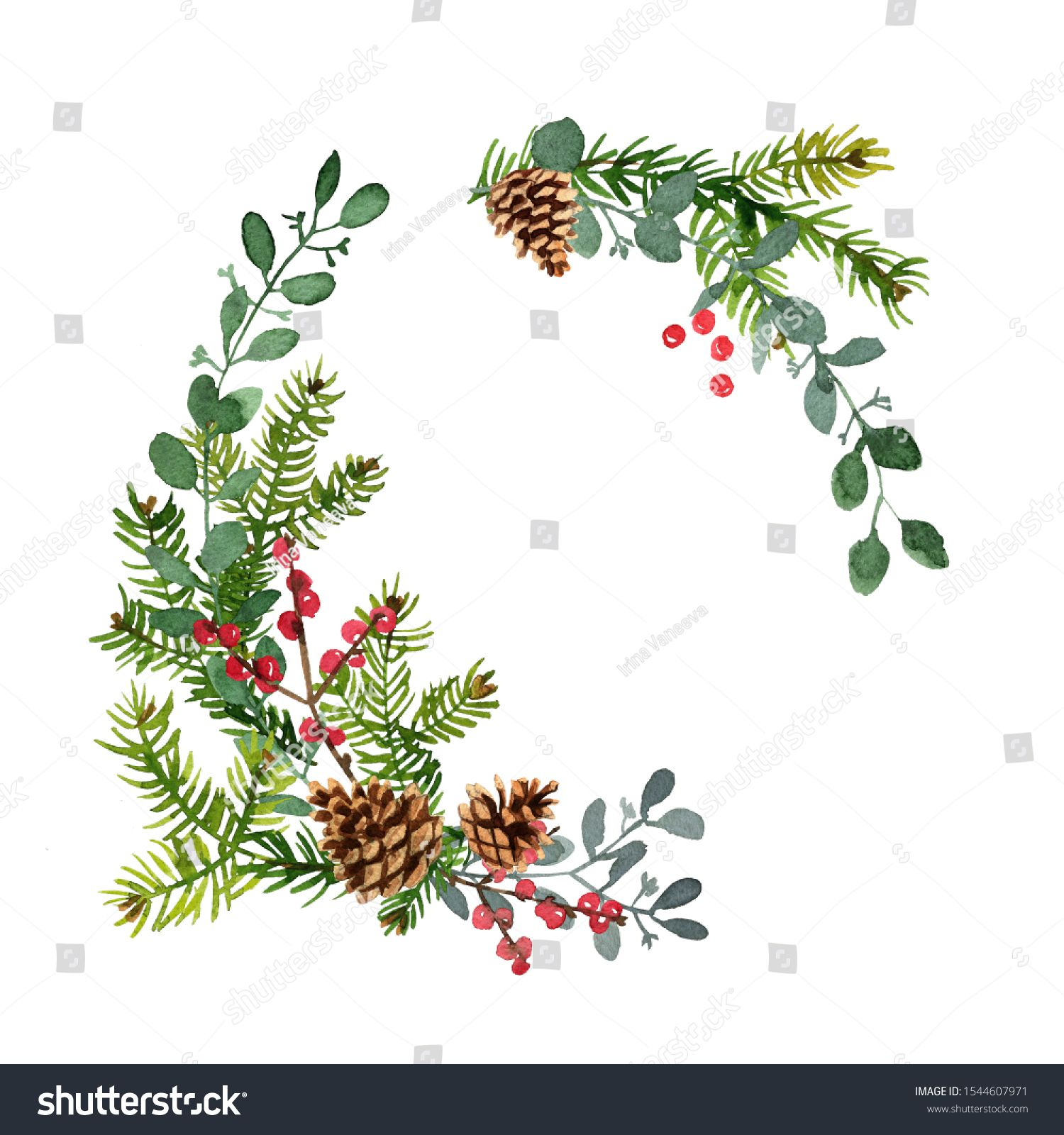 Christmas Decor Wreath Made Of Christmas Tree Branches Painted With Watercolors On White Back In 2020 Christmas Decorations Christmas Tree Branches How To Make Wreaths