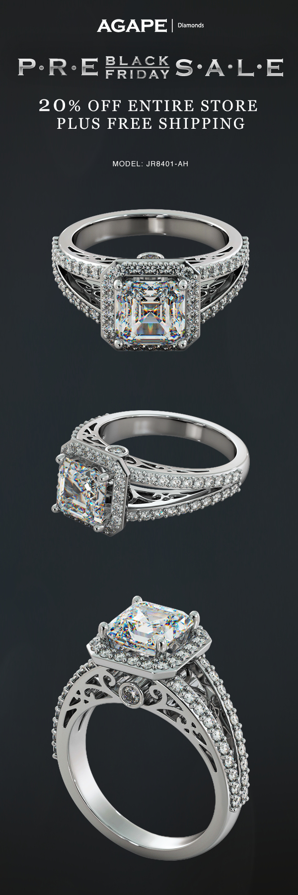 One Of Our Feature Rings For Pre Black Friday 20 Off Entire Site Plus Receive Free 2 0ct Round Cut Stud Earrings In 14k White Gold And