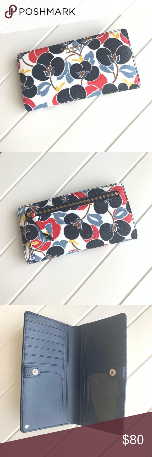 Kate Spade Cameron Breezy Floral Wallet Eine mehrfarbige, große, schlanke Brieftasche …   – My Posh Closet