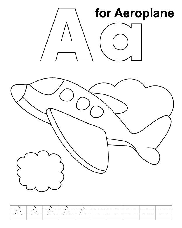 A for aeroplane coloring page with handwriting practice | Trains ...