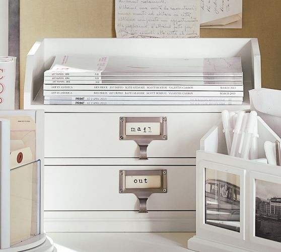Bedford Two Drawer Paper Organizer Antique White From
