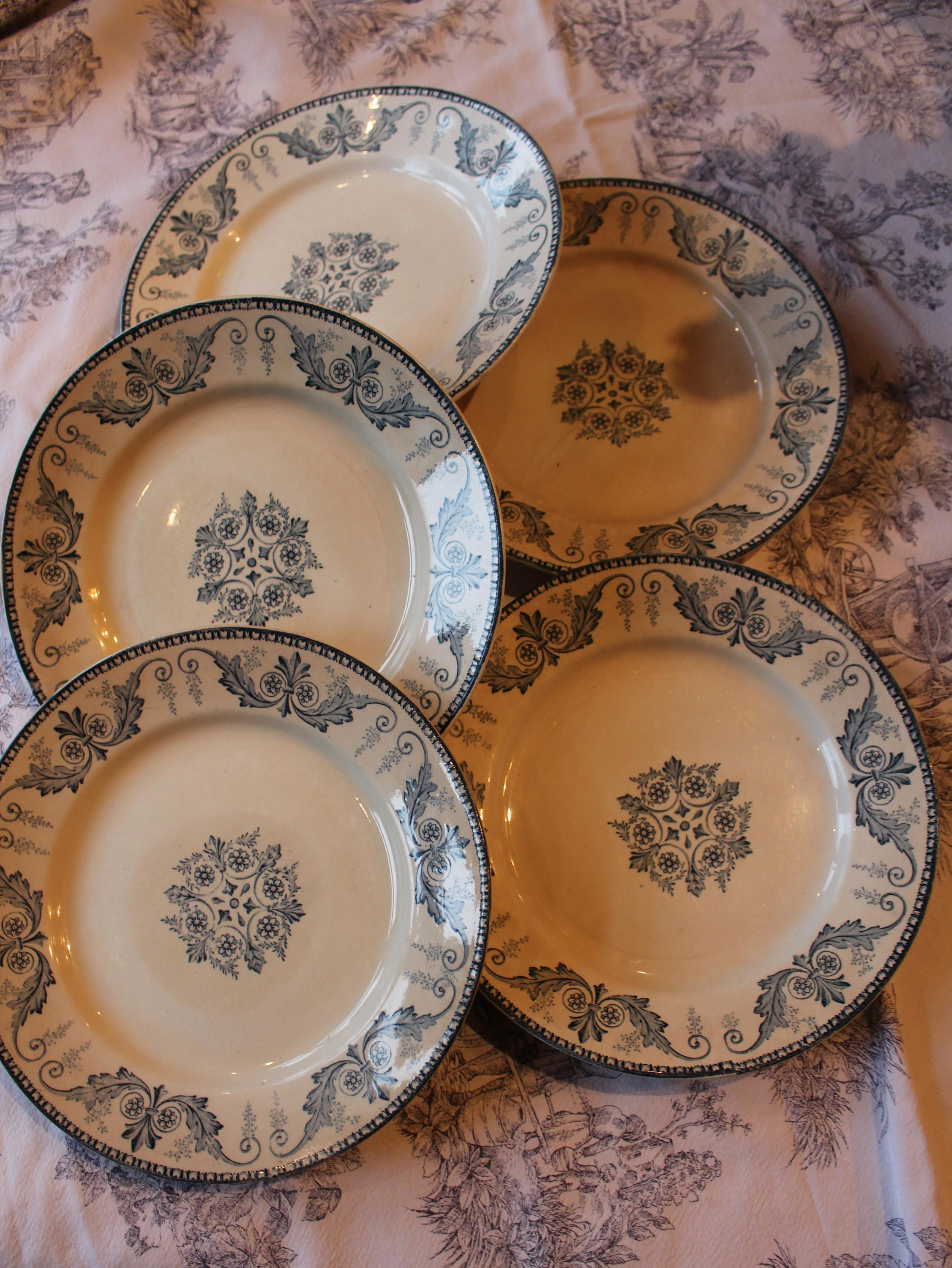 French vintage Collectors Plates Blue Trim Malmaison Luneville by frenchvintagetreasur on Etsy