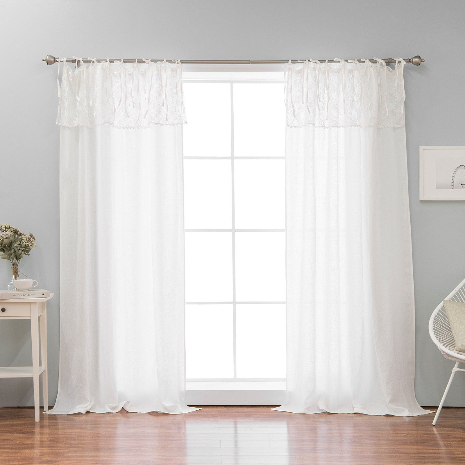 Best Home Fashion Abelia Belgian Flax Single Curtain Panel With