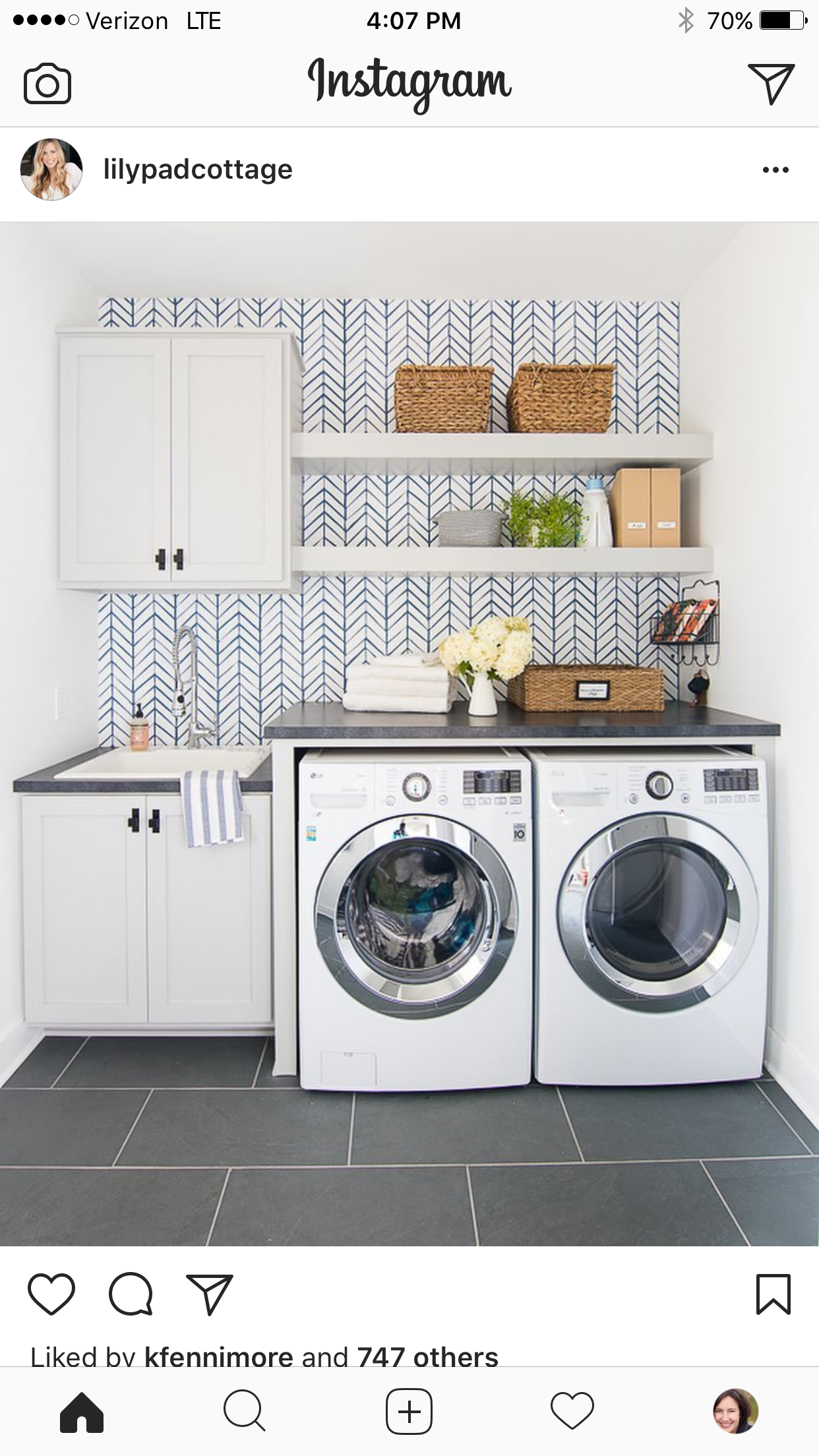 Wallpaper And Shelf Above Washer And Dryer Laundry Room Diy Laundry Room Decor Small Laundry Rooms