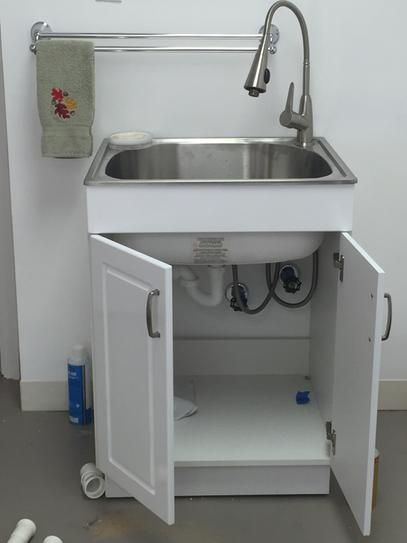 Glacier Bay All In One 24 2 X 21 35 33 85 Stainless Steel Laundry Sink With Faucet And Storage Cabinet Ql033 At The Home Depot Mobile