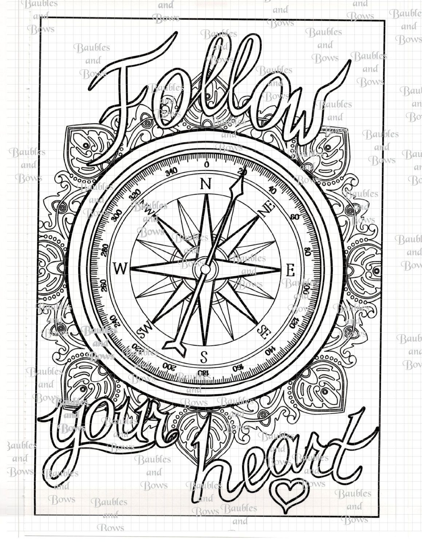 Compass Printable Adult Mandala Coloring Page Digital By