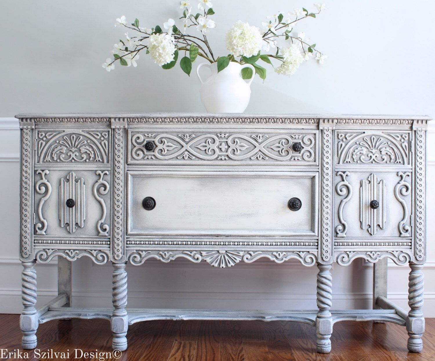 Antique Ornate Carved Jacobean Hand Painted French Country Shabby Chic  Weathered White Grey Buffet Sideboard Cabinet