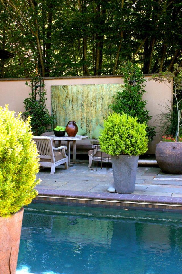 AuBergewohnlich Poolterrasse Ideen Für Sichtschutz Mit Lebendigen Kübelpflanzen