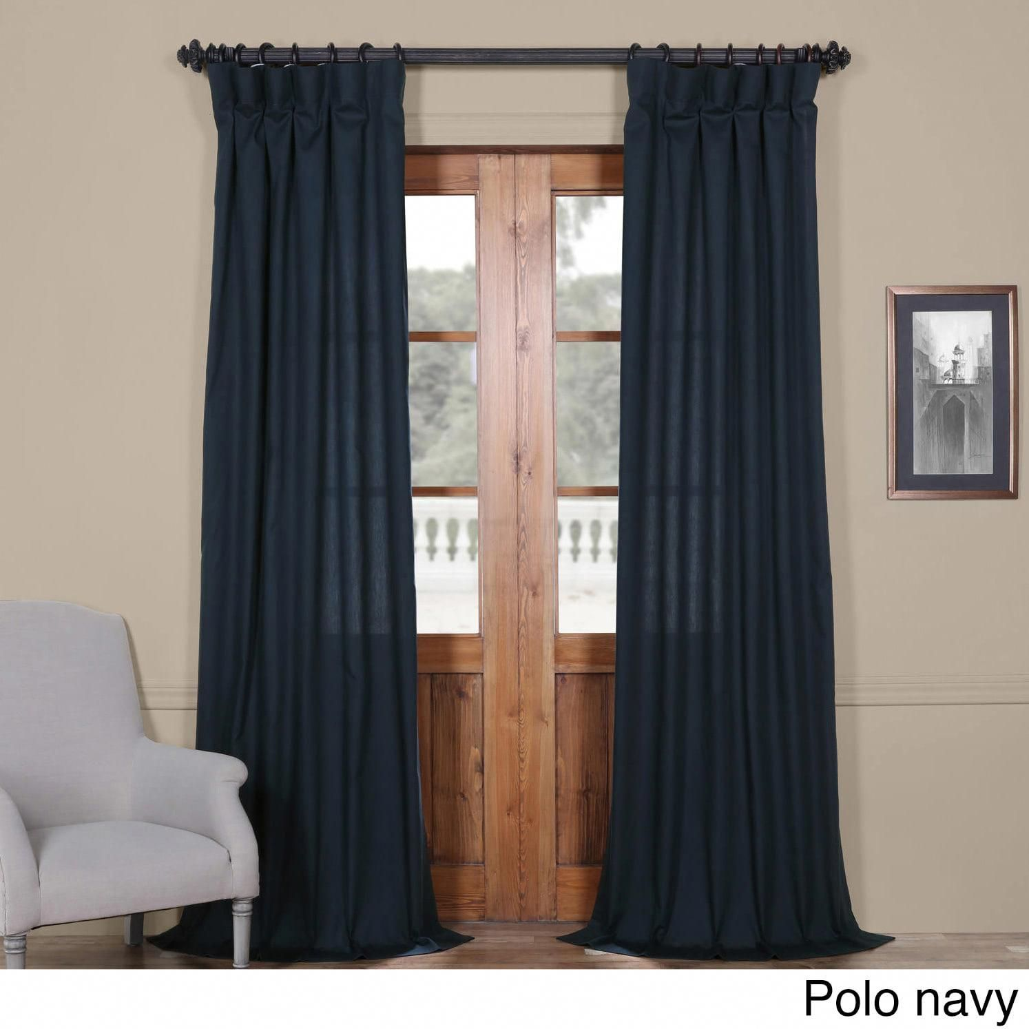 Exclusive Fabrics Solid Cotton Curtain Panel Polo Navy 50 X 108