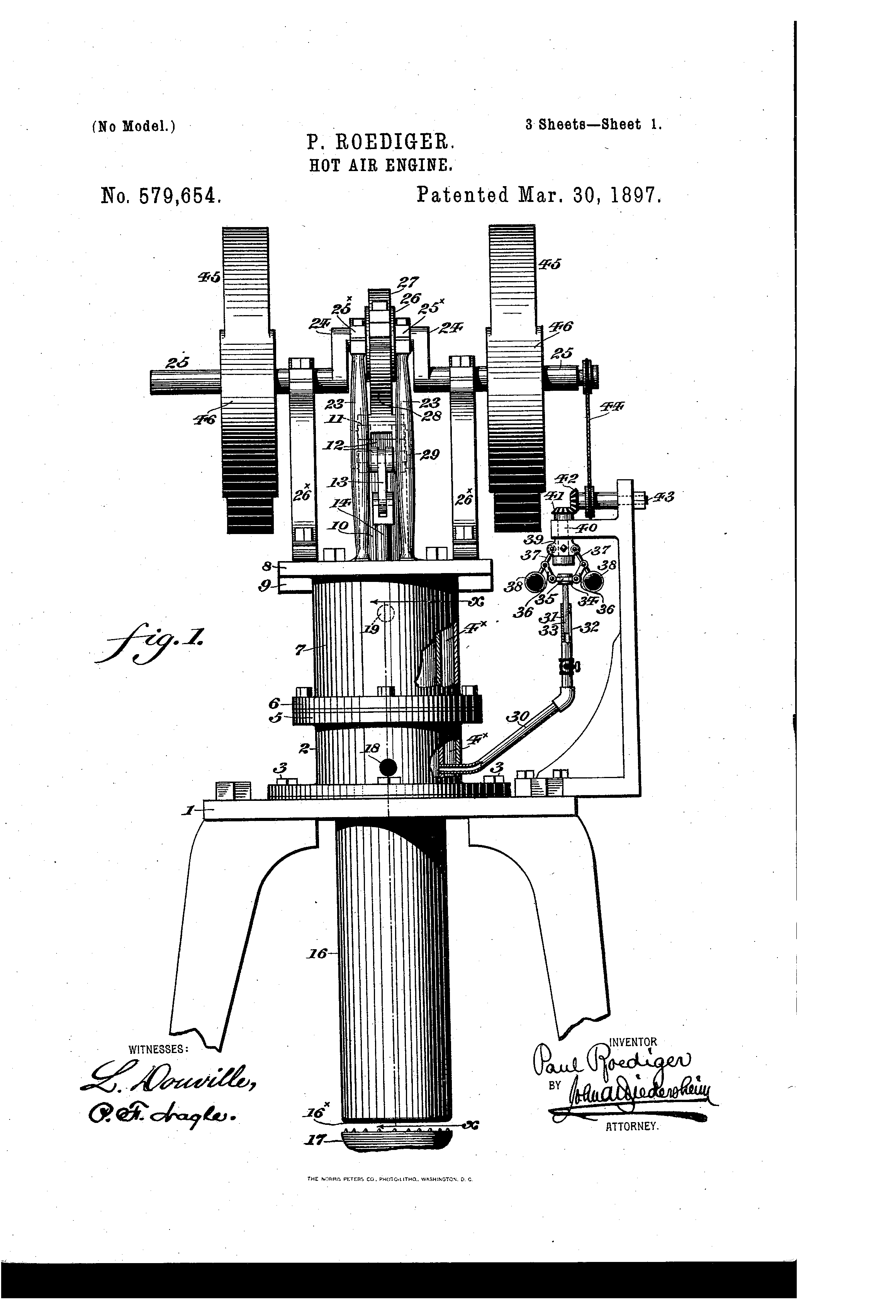 Hot Air Engine Us 579654 A Patent Drawing Engineering Hot Air