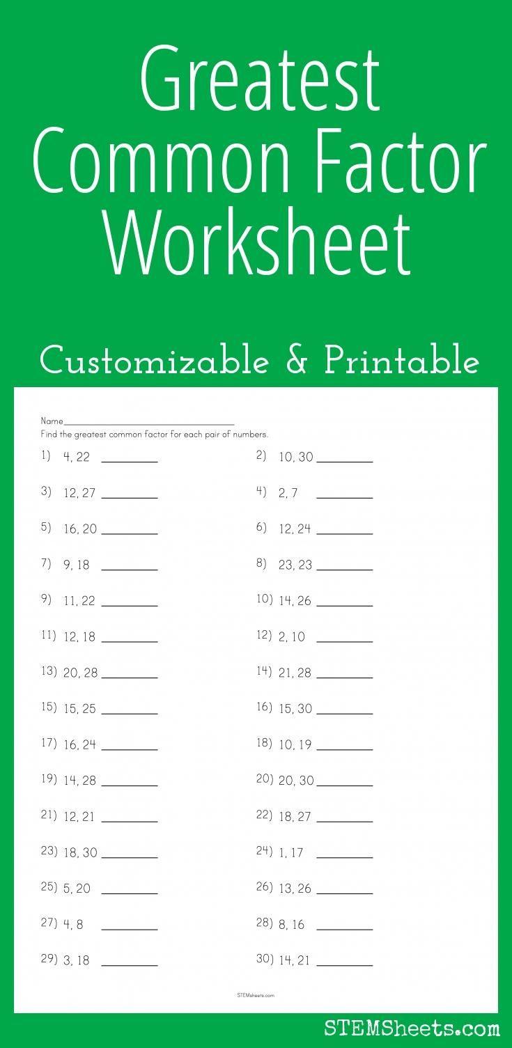 Greatest Common Factor Worksheet - Customizable and Printable   Greatest  common factors [ 1505 x 735 Pixel ]