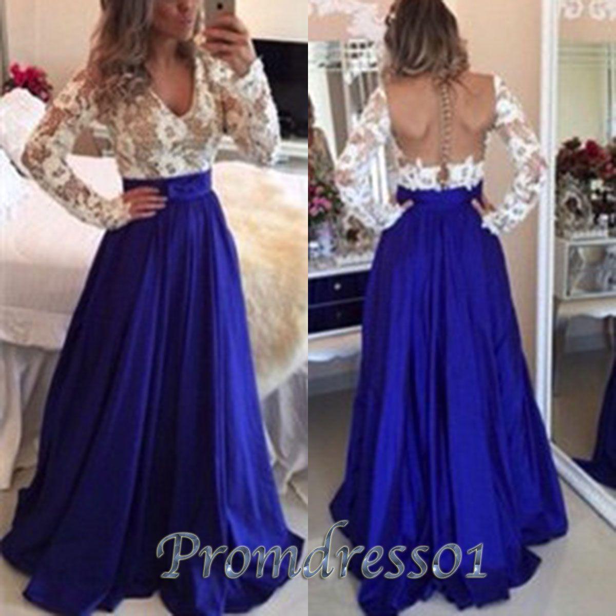Beautiful navy blue satin aline long prom dress modest dress for